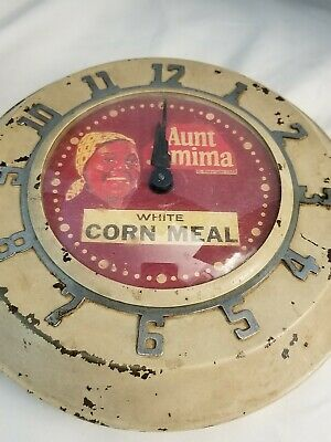 Vintage Aunt Jemima Kitchen Wall Clock  Painted White Corn Meal Wind Up
