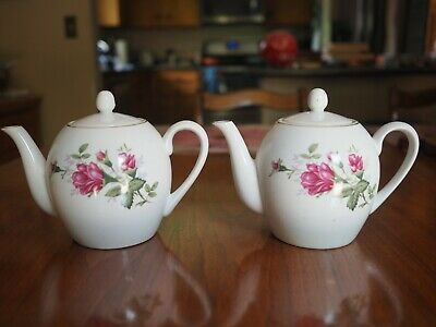 TEAPOT PITCHERS Pair with LIDS White FLORAL PATTERN Set of 2
