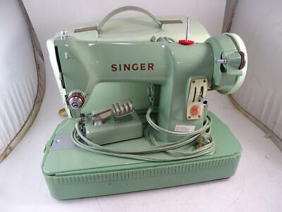 Vintage Singer Sewing Machine Model 185J Mint Green Portable Canadian Retro Old