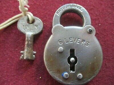 Vintage  Small 6 Levers  Padlock with union Key