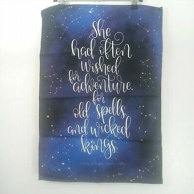 Owlcrate Throne of Glass Sarah J Maas Galaxy Book Quote Tea Kitchen Towel Banner