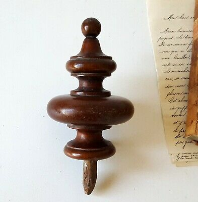 """Antique turned wood finial Architectural salvage Salvaged furniture topper 4.8"""""""