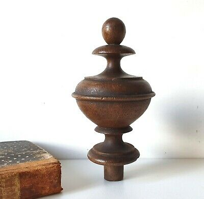Antique turned wood post finial cap Furniture Cabinetry Wooden topper 4.49 in