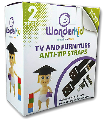 Tv And Furniture Anti-Tip Straps Smart And Safe (2 Pack Black)