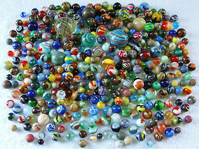Group of 402 Antique, vintage & contemporary marbles. Hand made, machine made,