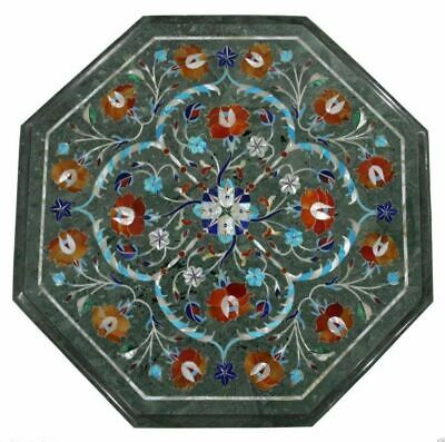 "24"" green marble coffee center table top inlay malachite lapis mosaic decor"