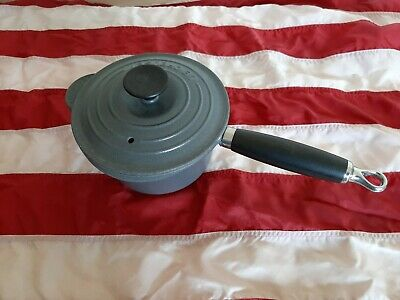 Genuine Le Creuset 16cm Grey Pan Cast Iron Saucepan Pot Phenolic Handle & Lid