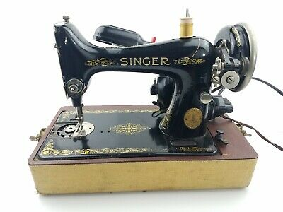 Vintage 1950s Singer Electric Sewing Machine with Foot Pedal and Case