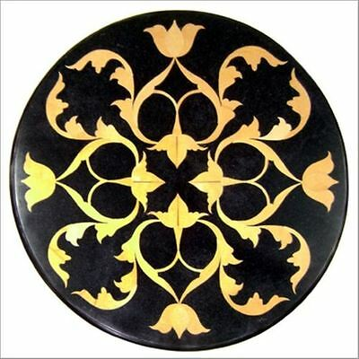 "18"" Black Marble  Corner Bedroom Dining Coffee Table Top Mosaic Inlay Hallway"