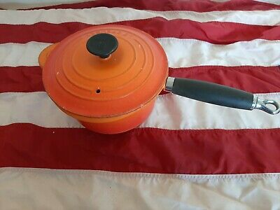Le CREUSET 18 cm CAST IRON VOLCANIC ORANGE SAUCEPAN w/LID - VERY WELL USED
