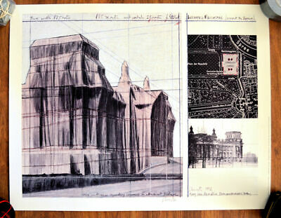 Christo Reichstag Offset lithography on carton  82 X 65 cm hand signed