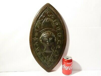 19thC Ecclesiastical Vessica Copper Repousse Seal Matrix Shape Wall Plaque