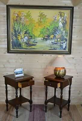 Pair Antique Victorian Style Two Tier Mahogany Bedside Lamp Side Tables