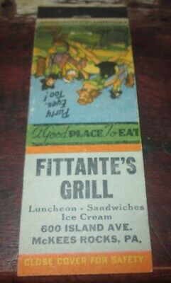 Old Matchbook Cover, Fittante's Grill, McKees Rocks, Pa.