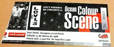 Ocean Colour Scene Entrada Ticket. Concierto Sala Oasis 1998  Zaragoza. Spain