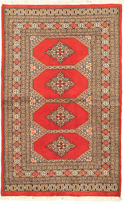 "Hand-knotted  3'1"" x 5'3"" Bordered, Geometric, Tribal Wool Rug"