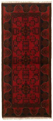 "Hand-knotted Carpet 2'9"" x 6'5"" Traditional Vintage Wool Rug"