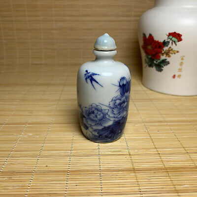 Chinese fine painting blue and white porcelain bottle snuff bottle