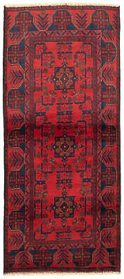 "Hand-knotted Carpet 2'8"" x 6'4"" Traditional Vintage Wool Rug"
