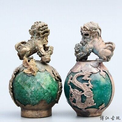 Collect China Old Miao Silver Armour Agate Carve A Pair Auspicious Kylin Statue