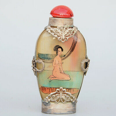 Collect Old Miao Silver Armour Glass Hand Paint Nude Belle Noble Snuff Bottle