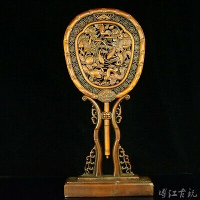Collect China Old Boxwood Hand-Carved Fish & Bloomy Lotus Luck Fan Screen Statue