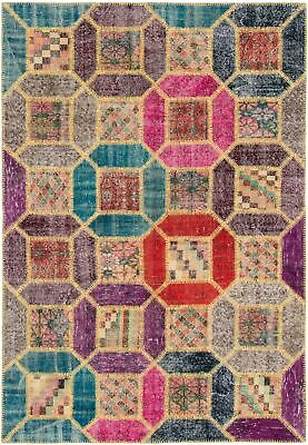"Hand-knotted Turkish 5'7"" x 7'10"" Color Transition Patchwork Rug"