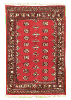 "Hand-knotted  4'1"" x 6'1"" Bordered, Geometric, Tribal Wool Rug"