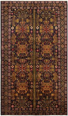 "Hand-knotted Carpet 4'11"" x 8'6"" Traditional Vintage Wool Rug"