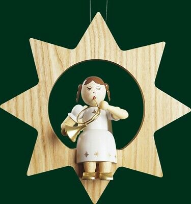 Christmas Tree Ornament Angel With French Horn IN Star Trunk 13504