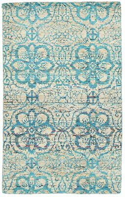 "Hand-knotted  Carpet 4'10"" x 7'10"" Sari Silk Transitional  Rug"