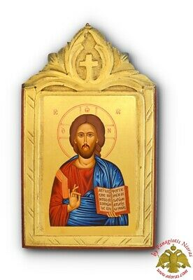 Orthodox Icons Canvas Mounted On Carved Wood With Cross Orthodoxe Ikonen Ikone