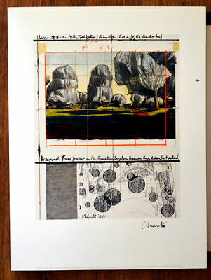 Christo Wrapped Trees offset lithography 39,5 x 30 cm hand signed