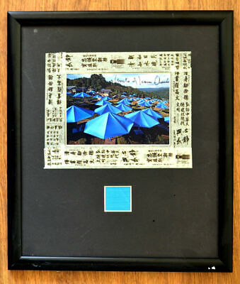 Christo & Jeanne Umbrellas Japan hand signed collage framed