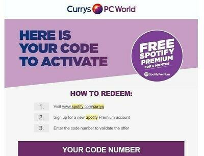 Spotify Premium 6 Months Free Subscription (New Accounts) - Currys Code
