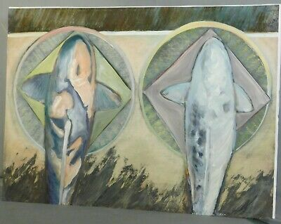Abstract Painting Geomteric Biomorphic Gray Rose Vintage MId-Century Modern BOLD