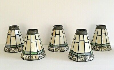 """Set of 5 Tiffany Style Glass Tapered Mosaic Lamp Shades w/2"""" Fitters - EUC"""