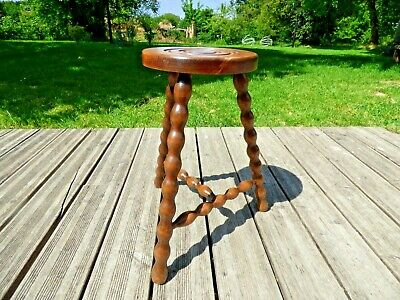 Vintage French Tall Milking Stool / Plant Stand with 3 bobbin turned legs