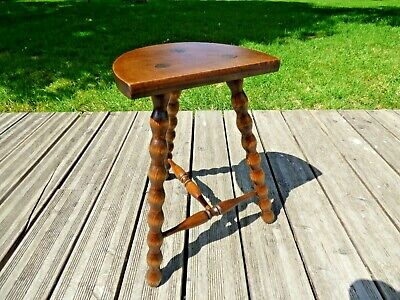 Vintage French Tall D Shaped Milking Stool with bobbin turned legs