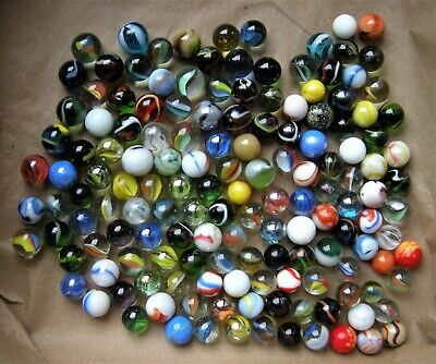 Lot (150) Vintage Multi-Color, Swirl Pattern Glass Marbles