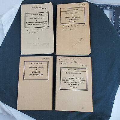 4 WWII Basic Field Manuals FM 22-5 30-21 27-10 21-6 Military Infantry Warfare