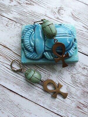 vintage egyptian hand carved stone scarab faience vintage ankh brass earrings