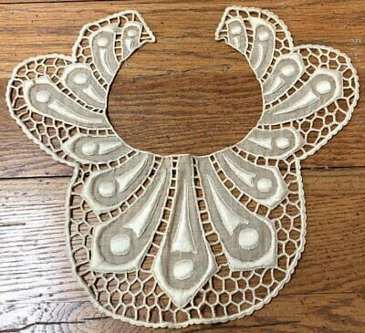 Antique Padded Embroidery LACE Collar Collection Find!