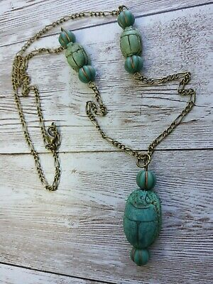 vintage egyptian scarab large faience hand carved with czech beads necklace