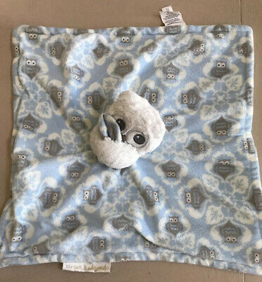 Blankets and Beyond Blue Owl Baby Security Blanket Lovey Blue & White