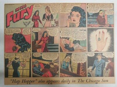 Miss Fury Sunday by Tarpe Mills from 4/5/1942 Size: 11 x 15  Very Rare Year #2