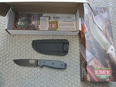 ESEE 4 Fixed Blade, Black Blade/Grey Micarta. New/Never Used.