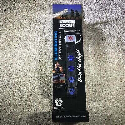 New Night Scout Dog Collar Illuminating USB Rechargeable Black Blue Collar Small