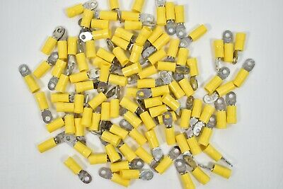 100 STA-KON Yellow Insulated Ring Crimp Terminal Thomas & Betts #6 Bolt 12-10