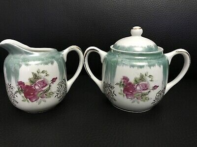 Vintage Creamer and Sugar Set from Japan Red Roses Excellent Condition